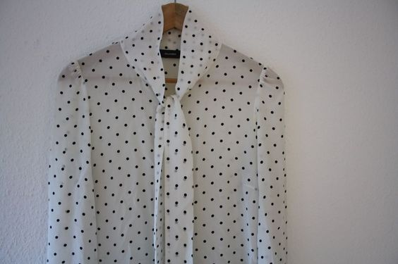 Bluse von Hallhuber, Gr.38/S, weiß mit Punkten, Seidenbluse, 100% Seide