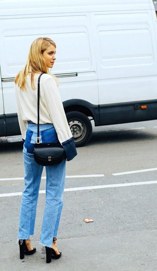 Pernille Teisbaek in a J.W.Anderson top, Vetements jeans and a Chloé bag