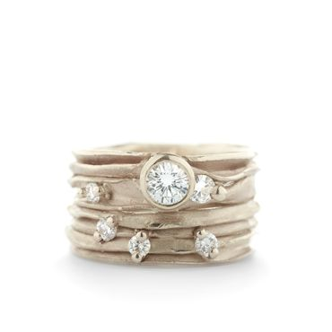 Brede gouden ring met diamanten   Wim Meeussen Goudsmid Antwerpen