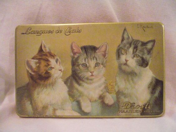 Vintage Tin Box Droste Chocolate Langues de Chats 3 Cats Kittens #Droste