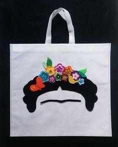 Handbag Frida Kahlo flower crow purse bag, Shopping tote, Market mercado bag…