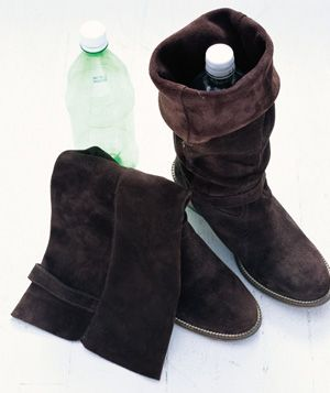 Smart Idea: Insert an empty one-liter plastic bottle into a tall boot to keep it from sagging, creasing, or toppling.