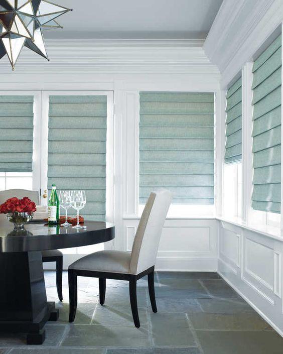 Shades Hunter Douglas Design studio Roman Transitional diningroom