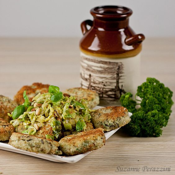 Sautéed Slivered Brussels Sprouts over Wild Rice Cakes