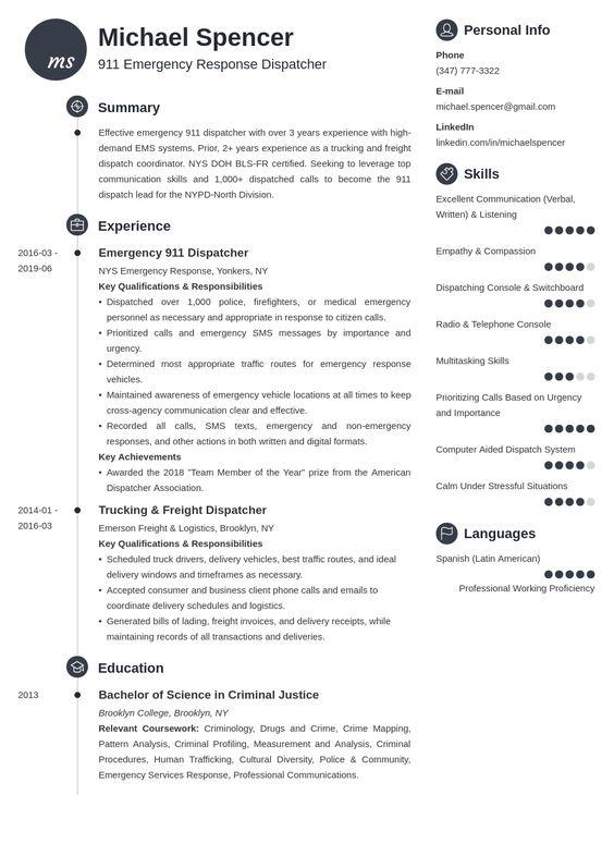 Dispatcher Resume Examples With Job Description Sample In 2020 Resume Examples Job Resume Examples Resume