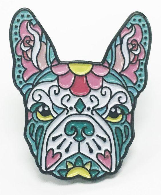French Bulldog Pink and Teal Sugar Skull Tattoo Breed Dog Lover Enamel Laptop Pin