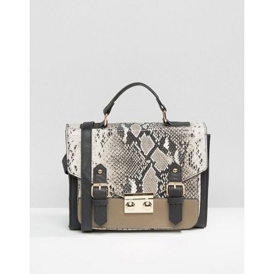ASOS Snake Blocked Satchel Bag ( 36) ❤ liked on Polyvore featuring bags 49e4a4a863f22