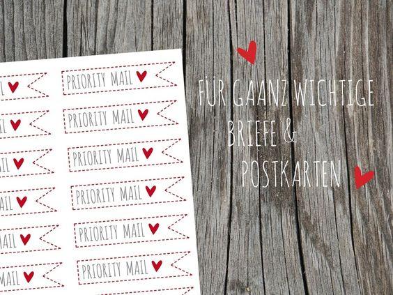 20 Aufkleber  Priority Mail Briefetiketten Herz von Lottes Laden auf DaWanda.com