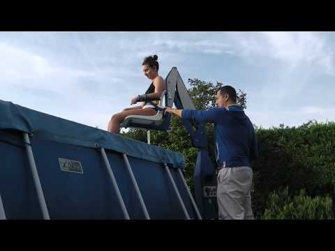F100 poolside lift video youtube the f100 pool for Swimming pool lifting out of ground