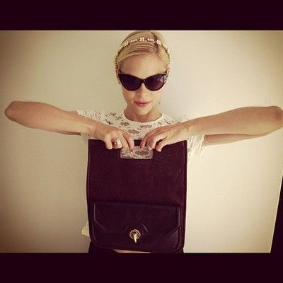 Jaime King looking fierce with her Eve clutch bag