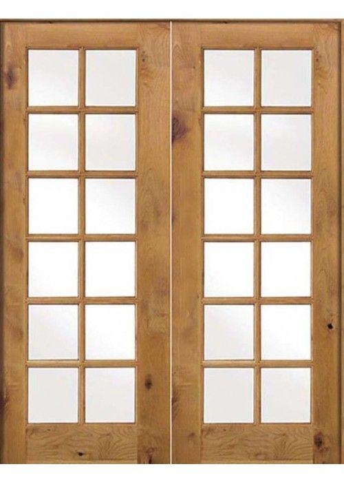 Krosswood Knotty Alder Int 12 Lite With Tempered Glass Double Doors Discount Interior Doors French Doors Interior Double Doors Interior