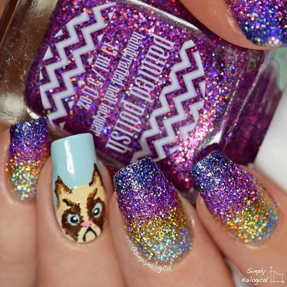 Simply Nailogical Holo Glitter Gradient And Grumpy Cat Let S Mix It Up Pinterest Nail