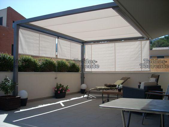 Toldos para terraza planos de veranda jardin pinterest for Toldos corredizos para terrazas