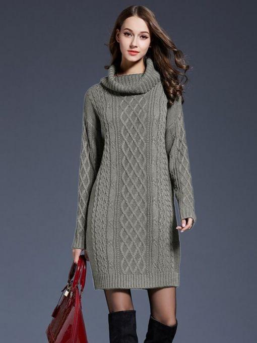 Vinfemass High Neck Solid Color Plus Size Long Sweater Dress ...