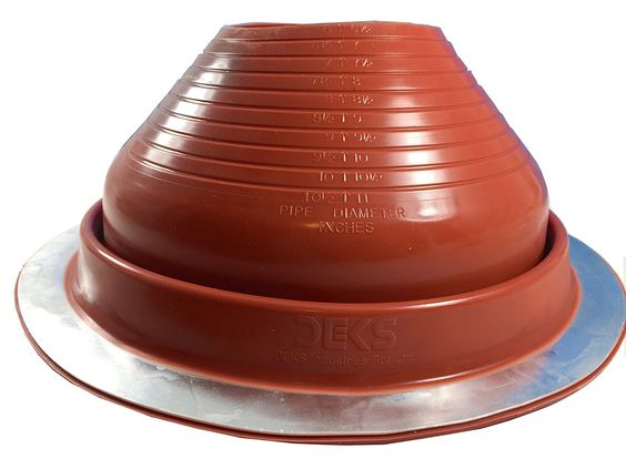 DEKTITE ROUND BASE PIPE FLASHING BOOT: 7 RED High Temp Silicone Flexible Pipe Flashing Dektite (for OD pipe sizes 6? - 11?)~Roof Jack Pipe Boot~pipe flashing fastens w/roofing screws~By Deks Dektite -- You can get more details by clicking on the image.