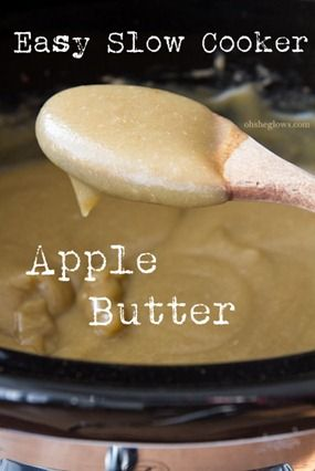 """Easy Slow Cooker """"Naked"""" Apple Butter. No sweeteners added, minimal spices. #recipes #vegan"""