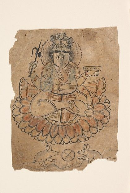 Seated Four-Armed Ganesha  Date:ca. 1775 Culture:India (Rajasthan, Bundi) Medium:Ink and opaque watercolor on paper Dimensions:5 15/16 x 4 1/2 in. (15.1 x 11.4 cm)  Ganesha, the Hindu god of good fortune is shown sitting on a multitiered lotus—holding in his left hand a manuscript and water pot, and in his upper right an elephant goad.  His lower right hand is placed on his stomach