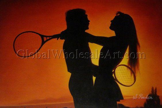 """Tennis Lovers"". Original Painting from http://globalwholesaleart.com/"