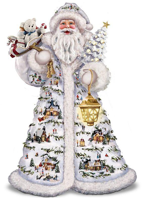 Thomas kinkade father christmas santa claus figurine by