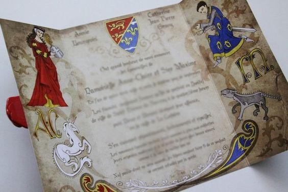 Medieval Wedding Invitation Wording: Medieval Wedding Invitation -- Parchment With