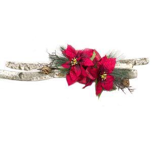 Arrangement rouge avec bouleau et fleurs de Noël, 32 ''