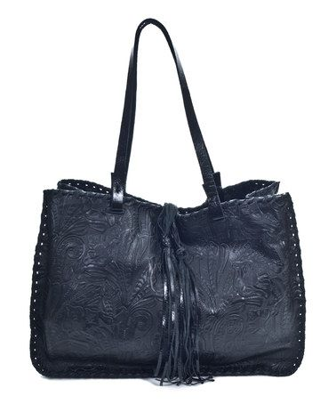 Look at this #zulilyfind! Black Tooled Leather Tote by Carla Mancini #zulilyfinds