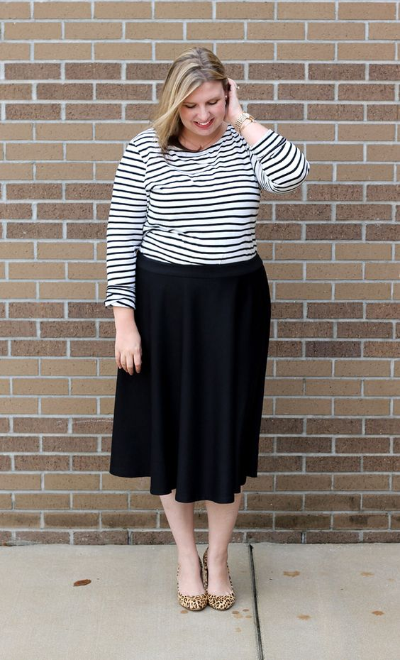 Make it Work Monday: Black Midi Skirt and Stripes