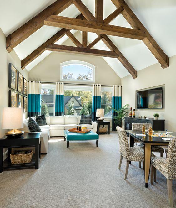 Asheville Model Home Interior Design 1264f: LOVE The Color Block Drapes! Interior By Arthur Rutenberg