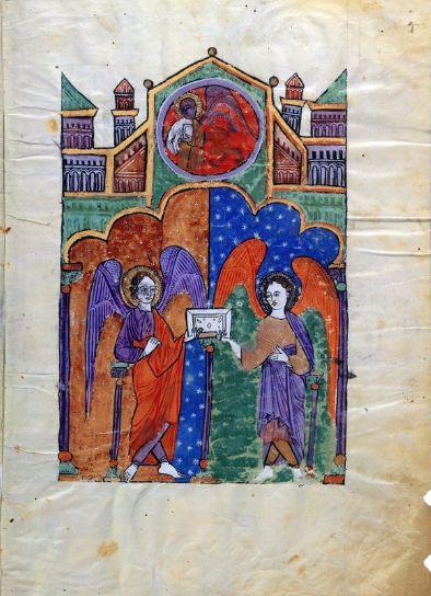 Marcos Evangelista con el testigo y dos ángeles que sostiene su Evangelio. Beato de Liébana, Comentarios del Apocalipsis. España 1220 Comprado por Pierpont Morgan, 1910 MS M.429 (ff. 3v-4)