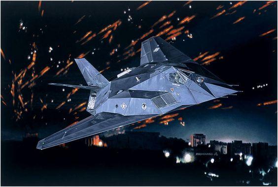 """aviationartwork: """" F-117A Nighthawk (Daniel Bechennec). """""""