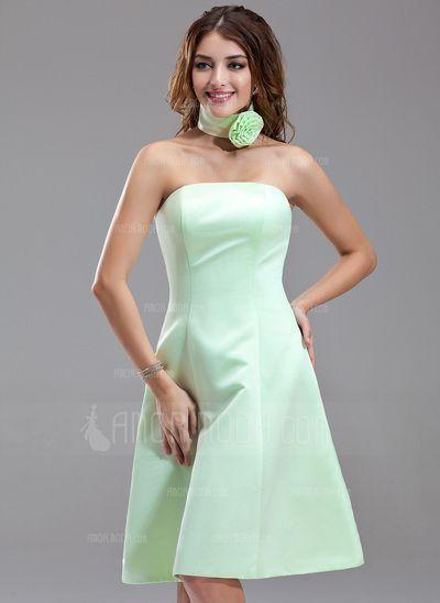 Robes+d'invitée+de+mariage+-+$59.99+-+Forme+Princesse+Sans+bretelle+Mi-longues+Satiné+Robe+de+demoiselle+d'honneur+(007000867)+http://amormoda.fr/Forme-Princesse-Sans-Bretelle-Mi-longues-Satine-Robe-De-Demoiselle-D-Honneur-007000867-g867