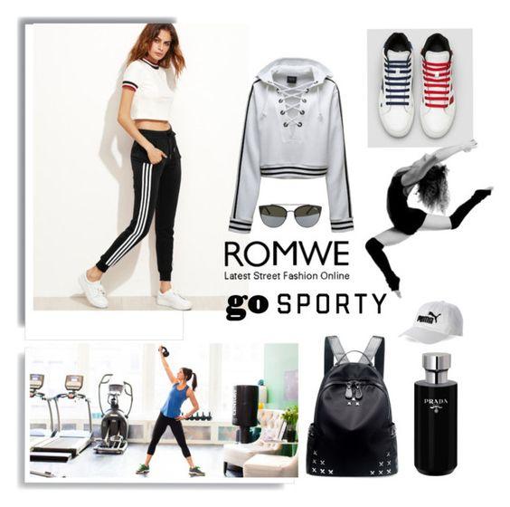 """""""romwe"""" by ninigreen ❤ liked on Polyvore featuring Puma, Chicnova Fashion, Prada, Quay and Pussycat"""