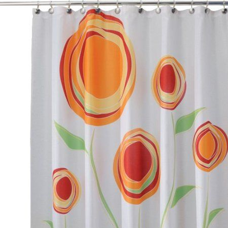 amazoncom interdesign marigold shower curtain redorange 72 inches x