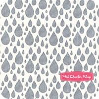 Little Things Organic Rainy Day Grey on Cream Raindrop Yardage SKU# 14094-11