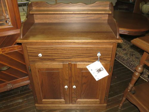 Oak Wash Stand Commode Cabinet Amish Made Modern New