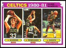 1981 TOPPS BASKETBALL 45 LARRY BIRD ARCHIBALD TEAM LEADERS NM BOSTON CELTICS