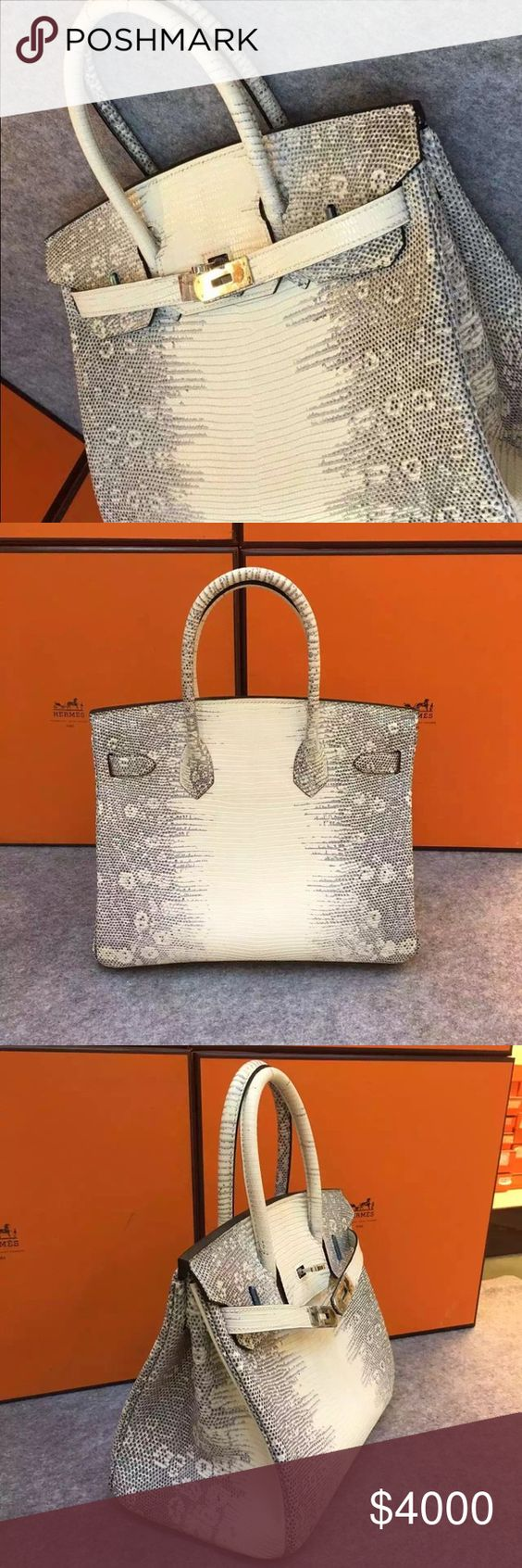 Hermes bag 100% LIZARD leather HERMES birkin 30 100% handmade guarantee ( please see the thread).  Silver hardware  Comes with box and dust bag, key... Sold as in the picture Hermes Bags