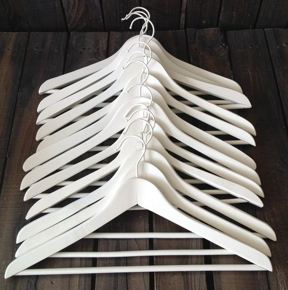 White Wooden Hangers Set of 12 Bridal Party by picadillymarket