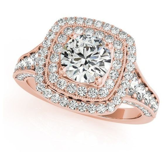 Allurez Square Double Halo Diamond Engagement Ring 14k Rose Gold... (€5.420) ❤ liked on Polyvore featuring jewelry, rings, accessories, joias, rose gold, rose gold engagement rings, round engagement rings, diamond accent rings, square diamond rings and rose gold diamond ring