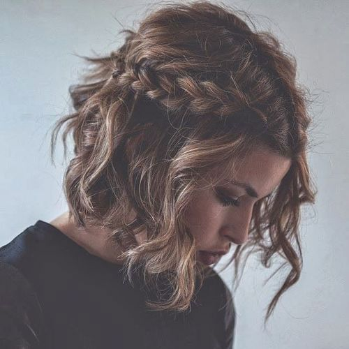 This messy french braid crown looks great on medium length hairstyles!