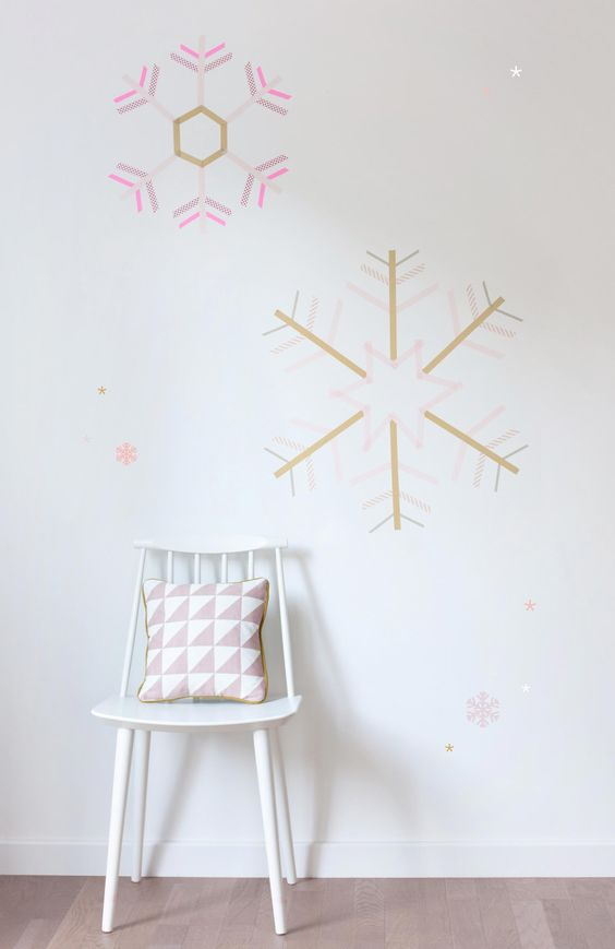 le masking tape habille les murs avec ce diy de no l diy idees noel masking tape. Black Bedroom Furniture Sets. Home Design Ideas