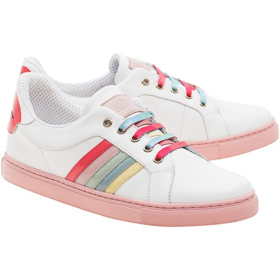 RED VALENTINO Cool Rainbow White // Leather sneakers with highlights ($305) ❤ liked on Polyvore featuring shoes, sneakers, shoes - sneakers, white sneakers, flat shoes, rainbow shoes, white leather trainers and rubber sole shoes