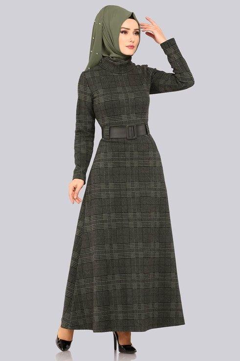 Modaselvim Elbise Bogazli Kislik Elbise 5488mp186 Haki Mutevazi Moda Musluman Modasi Moda Stilleri
