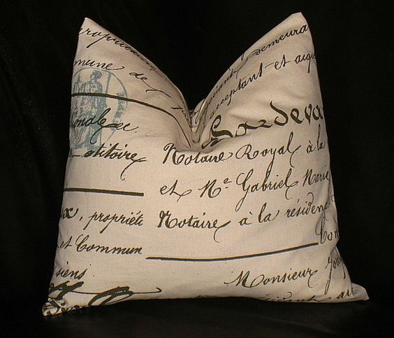 Throw Pillows With French Script : French Script Decorative Pillow 20 x 20 inch Throw Pillow Cover 20