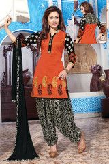 Orange & Black Color Raw Silk & Georgette Ready-made Semi Patiala Suits ( Sizes - 38, 42, 44 ) : Manpreet Collection YF-32833