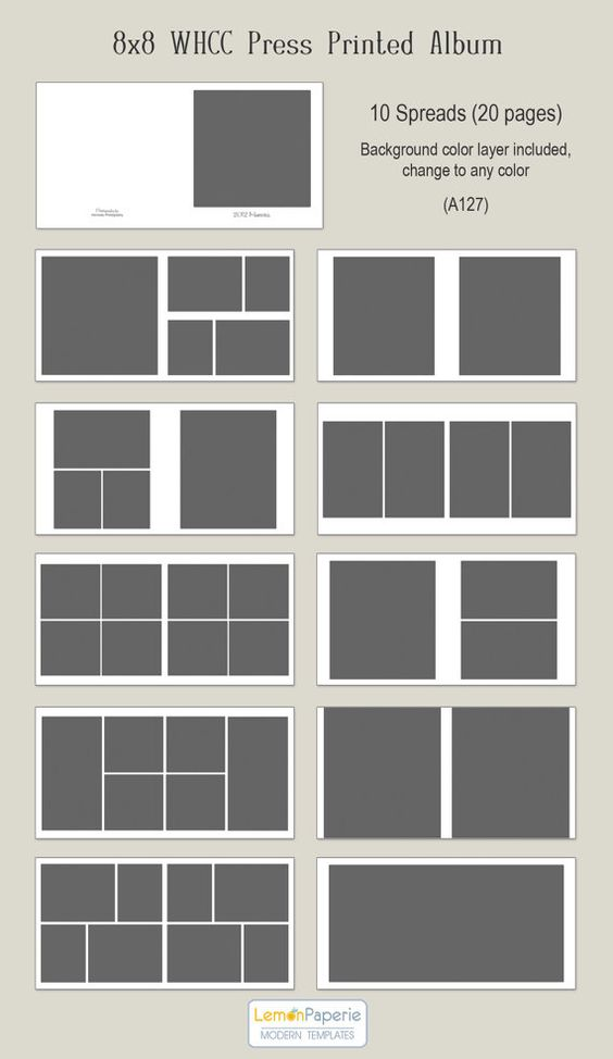 8x8 Press Printed Lay Flat Album Template - Classic (ALB203 ...