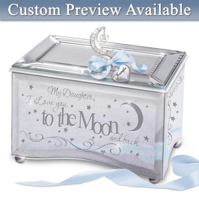 My Daughter, I Love You To The Moon Personalized Music Box