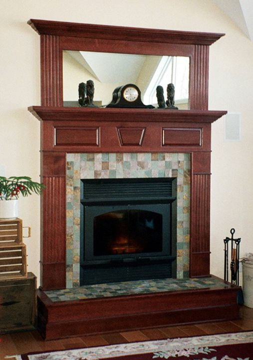 surround mirror slate tile fireplace fireplaces fireplaces