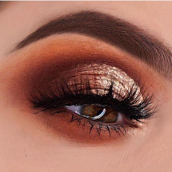 Warm tone eye makeup for brown eyes
