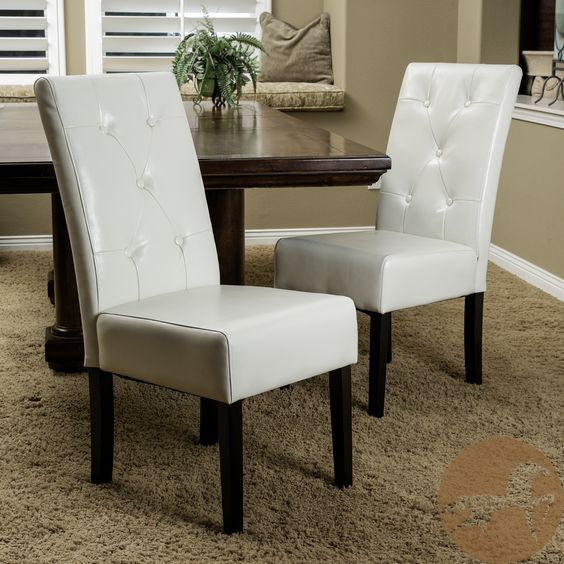 Taylor Ivory Leather Dining Chair Set Of 2Christopher Knight Simple Ivory Leather Dining Room Chairs Design Ideas